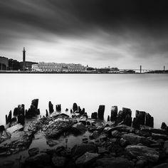 Masthugget http://mabrycampbell.com #sweden #skyline #mabrycampbell #gothenburg #longexposure #blackandwhite #harbor #seascape #image #photography
