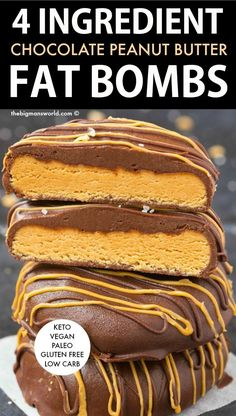 Chocolate Peanut Butter Fat Bombs- Just 4 Ingredients! Keto Chocolate Peanut Butter Fat Bombs made with just 4 ingredients- NO cream cheese, NO oil and NO dairy! an easy low carb and sugar free recipe ready in 5 minutes! Peanut Butter Fat Bombs, Chocolate Peanut Butter, No Sugar Desserts, Dessert Recipes, Keto Desserts, Candy Recipes, Dessert Ideas, Sugar Free Recipes, Low Carb Recipes