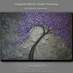 """Large 36""""x24""""x1-3/8"""" Original Textured Impasto Abstract Painting on Gallery Canvas Purple Blossom Tree Wall Art Palette Knife FREE SHIPPING!"""