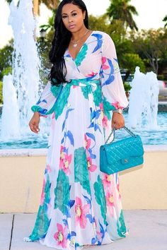 White V Neck Long Sleeve Floral Printed Wrap Tied Casual Maxi Dress. Mode  Africaine Robe ... fe7e7beee785