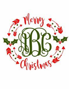 Cricut Monogram, Monogram Stickers, Monogram Shirts, Vinyl Shirts, Monogram Clothing, Cricut Fonts, Christmas Templates, Christmas Svg, Christmas Monogram Shirt
