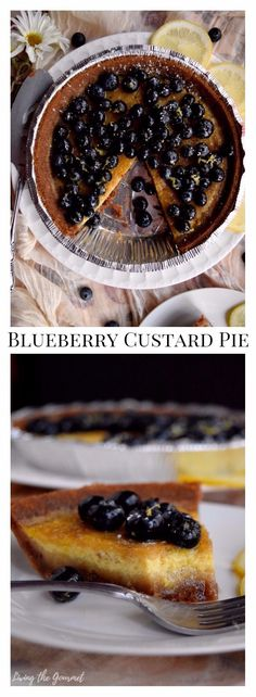 Naturally gluten-free, this Blueberry Custard Pie will give you warm weather vibes this winter with hints of zesty lemon, sweet blueberries and a velvety custard baked into a gluten-free graham cracker crust #MIDELicious #ad