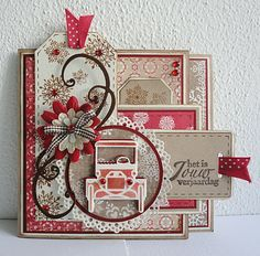{Pink}-N-Pepper: Fiery red  Lots and lots of layers and tags.  I will also be pinning the inside of this card