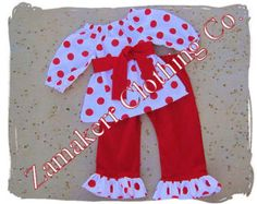 Girl Christmas Outfit Set - Girl Christmas Toddler Baby Infant Pant Set - Santa Outfit 3 6 9 12 18 24 month size 2T 2 3T 3 4T 4 5T 5 6 7 8