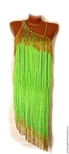 Платье Канарейка (Латина (бальные танцы) - ярко-зелёный,однотонный,бальные танцы