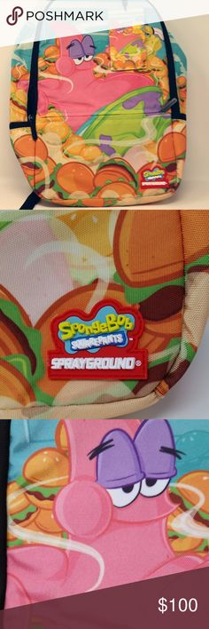 Sprayground SpongeBob Patrick Patties Backpack NWT - New With Tags!  Not available on Amazon or Sprayground!  Love Sponge Bob or Patick?  You will love this exclusive backpack of them eating Krabby Patties!  Great size backpack - 18 x 6 x 11.5 inches; with front zippered pocket, side zippered pockets; great place for your sunglasses; laptop compartment, table compartment and more... (the fabric is this Durable 900D which is water-resistant. Sprayground Bags Backpacks
