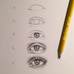 How to draw an eye Art Drawings Sketches Simple, Pencil Art Drawings, Realistic Drawings, Easy Drawings, Sketch Art, Eye Drawing Tutorials, Drawing Techniques, Art Tutorials, Eye Art