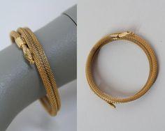 Vintage 30s Art Deco Bracelet / 1930s Gold Plated Mesh Coiled Snake Bracelet by FloriaVintage on Etsy