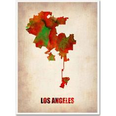 Trademark Fine Art Los Angeles Watercolor Map Canvas Art by Naxart, Size: 14 x 19, Multicolor