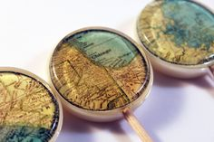 """LOVE these!!     Sweet home vintage maps edible images hard candy lollipops -  2"""" lollipops - 5 pc. - MADE TO ORDER. $12.00, via Etsy."""