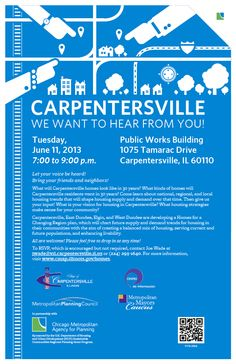 Join us TONIGHT 7:00 to 9:00 p.m. in Carpentersville, Illinois for Homes for a Changing Region open house at the Public Works building.