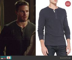 Oliver's black henley tee with white trim on Arrow.  Outfit Details: http://wornontv.net/39846/ #Arrow