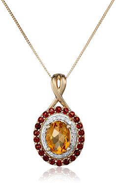 14k Yellow Gold Citrine, Garnet and Diamond Pendant Necklace, 18'  (1/10cttw, H-I Color, I2-I3 Clarity) -- You can find more details by visiting the image link. (This is an Amazon Affiliate link and I receive a commission for the sales)