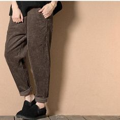 a554dd5009da99 Ladies Corduroy Trousers Baggy Harem Loose Stripped Pants