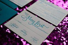 peacock wedding invitation, teal wedding invitation, letterpress wedding invitation, 2013 Wedding Trends, rsvp wording, response card wording