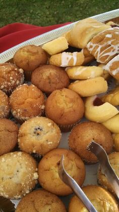 Waking up to a plate of these is a great way to start the morning. Can't get enough of those muffins. #muffinmix #pastries #breakfast #OCcatering #catering #sweettooth