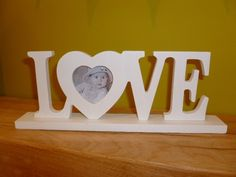 Gisela Graham Off White Love Letters Heart Photo Frame