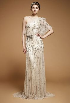 Wedding Dress Wednesday: Jenny Packham One-Shoulder Iris Gown - Wedding Party