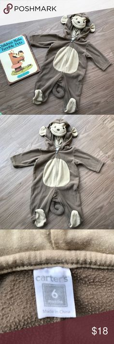 Carter's Monkey Around One Piece   Costume SZ 6 MO Carter's Monkey One Piece Suit. Hood with monkey head facade. Full zip body. Cute tail detail.  Size 6 Months. Perfect to use as a costume for Halloween.  We used this beyond Halloween as part of our kiddo's wardrobe.  It's just that soft and cozy!  100% polyester with brushed fleece feel.  In great condition! Carter's Costumes