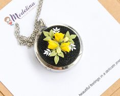 Excited to share this item from my #etsy shop: MADE TO ORDER, Personalized floral locket, Yellow roses necklace, Birthday gift, Mom anniversary, Unique keepsake, Photo locket,Mother's Day Unique Birthday Gifts, Mom Birthday Gift, Stainless Steel Chain, Brass Color, Yellow Roses, Gifts For Mom, Polymer Clay, Best Gifts, Floral