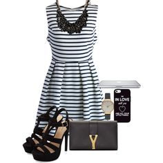 A fashion look from February 2015 featuring Chicwish dresses, Yves Saint Laurent wallets and Olivia Burton watches. Browse and shop related looks.