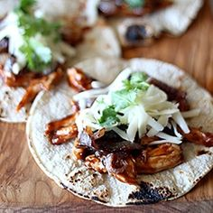 Easy dinner, BBQ chicken tacos with caramelized red onions.