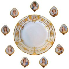 Set of 12 Art Nouveau Service Plates w/Portraits in Miniature Lamm Dresden circa 1900 | From a unique collection of antique and modern dinner plates at http://www.1stdibs.com/furniture/dining-entertaining/dinner-plates/
