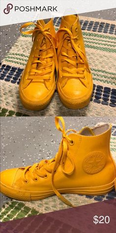Shop Women's Converse Yellow size Winter & Rain Boots at a discounted price at Poshmark. Durable, waterproof and fun! Yellow Converse, Converse Shoes, High Top Sneakers, Sneakers Nike, Winter Rain, Nike Air Force, Rain Boots, Best Deals, Fun