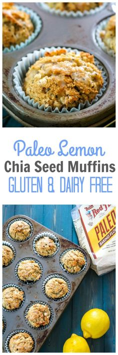 Easy Paleo Lemon Chia Seed Muffins: Dairy-free, grain-free, DELICIOUS tender muffins that are bursting with bright lemon flavor and hints of rich coconut. BobsSpringBaking AD  @BobsRedMill