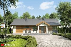 Projekty domów - Projekt domu parterowego ZORBA VII - wizualizacja 1