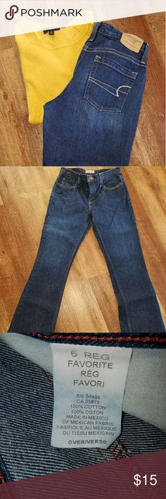 """American Eagle dark denim These are the original """"favorite"""" style jean. No spandex so not much stretch to them. Excellent condition, mid rise, bootcut. Inseam 32. American Eagle Outfitters Jeans Boot Cut"""