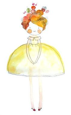 Cute illustration of a girl in a yellow dress - Cécile Hudrisier Art And Illustration, Illustration Mignonne, Illustrations Posters, Watercolor Flowers, Watercolor Paintings, Art Fantaisiste, Art Mignon, Dibujos Cute, Whimsical Art