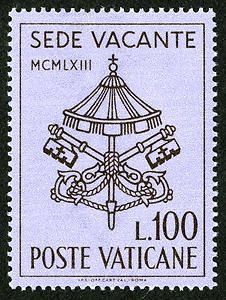 When a pope dies, there is a period during which no pope rules, known as the 'inter-regnum' - that is, the time between rulers. During the inter-regnum, the Seat of the Bishop of Rome at St. John Lateran is vacant, known as 'Sede Vacante.' With the death of Pope John XIII on June 4, 1963, there was an eleven-day interval between his death and the first day of issue of the Sede Vacante stamps at the Vatican Post Office, June 15th.