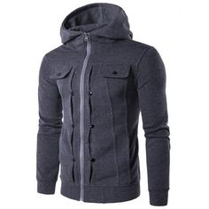 Stilish coat - Buttoned Pleat Zip Up Hoodie