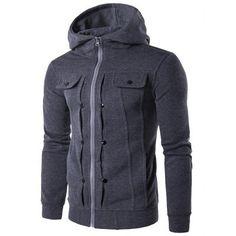 Stilish coat - Buttoned Pleat Zip Up Hoodie