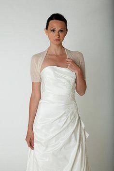 8bd99ffb9034e6 Wedding knit bolero EMILIE with short sleeve transparent for summer &  spring brides