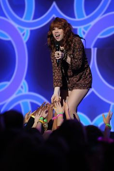 Up close and personal. #CarlyRaeJepsen connects with her fans during a performance at We Day Minnesota on Oct. 8, 2013 in St. Paul, Minn.