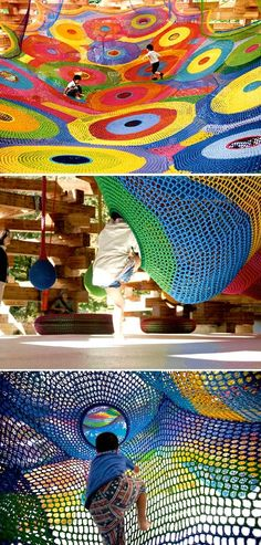 Crochet Playgrounds by Toshiko Horiuchi MacAdam (with engineers TIS & Partners and landscape architects Takano Landscape Planning), Japan | Best Architecture, Pavilion Architecture, Pavilion Design, Landscape Architecture Design, Installation Architecture, Architecture Interiors, Landscape Plans, Playground Design, Children Playground