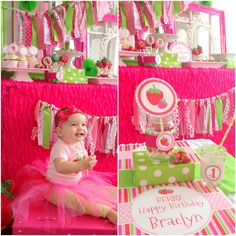 """Strawberry 1st Birthday Party! Really cute idea... love the ribbon garland tied to different brightly covered picture frames:) The little girl's last name is """"Berry"""""""
