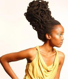 Massive updo with dreads for African American women Dreads, Black Women Hairstyles, Up Hairstyles, Natural Hairstyles, Free Form Locs, Afro, Loc Updo, Dreadlock Styles, Dreadlock Hair