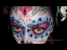 "Day of the dead / sugar skull tutorial!  #Day of the dead #sugar #skull #makeup #tutorial #dia de los muertos #creepy #halloween #theater #colors #bennye #facepaint #Skulls #Skeletons #beirut #mexico #vintage #cosmetics #eyeshadow ""numa numa"" #products #review #art #howto #tutorials #tips #powder #look #catrina #sugarskull #mexico"
