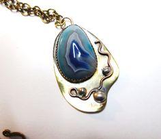 Atlantic blue / periwinkle/ Royal blue onys on Brass