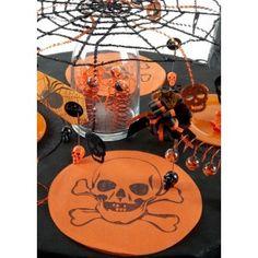 Set de table rond tête de mort noire pailletée intissé orange 34 cm les 6, déco de table, Halloween