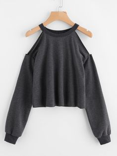 To find out about the Open Shoulder Raw Hem Heathered Pullover at SHEIN, part of our latest Sweatshirts ready to shop online today! Cut Up Shirts, Tie Dye Shirts, Teen Fashion Outfits, Casual Outfits, Womens Fashion, Fashion Trends, Fashion Styles, Fashion Fashion, Trendy Fashion
