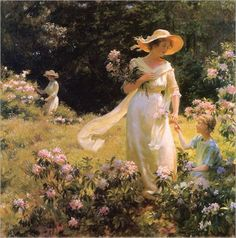 ⊰ Posing with Posies ⊱ paintings of women and flowers - Among the Laurel Blossoms (1914) by Charles Courtney Curran (1861-1942)