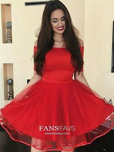 Red Homecoming Dresses Short, Cheap Prom Dresses for Teens, Elegant Cocktail Party Dresses Off-the-shoulder, A-line Graduation Dresses Tulle Cheap Semi Formal Dresses, Inexpensive Prom Dresses, Cheap Party Dresses, Cheap Dresses Online, Dresses Short, Short Mini Dress, Party Gowns, Plus Size Dresses, Mini Dresses