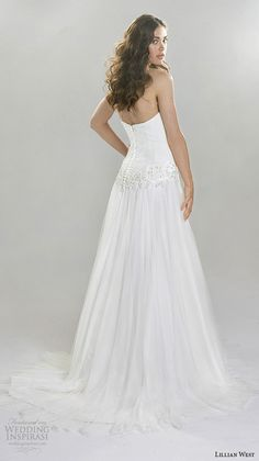 Lillian West Spring 2016 Wedding Dresses | Wedding Inspirasi | Strapless A-Line Bridal Gown With Straight Across Neckline, Dropped Waist, Court Length Train~~~~