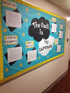 The fault in our stars themed bulletin board    The fault in my roommate #reslife #ra #bulletinboard This is really funny
