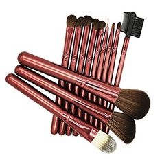 BeautyKate Premium Makeup Brushes 12 Pcs Goat Wool Hair Kabuki Makeup Brush Set Wine Red -- Want to know more, click on the image.