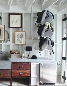 Looks beautiful but does a white surface make sense in a tack room? Windsor Smith - Book Love, Arteriors Home & Legends 2015 Dream Stables, Dream Barn, Horse Stables, Horse Barns, Equestrian Bedroom, Equestrian Decor, Equestrian Outfits, Western Decor, Equestrian Style